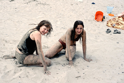 Helen and Melanie playing in the sand of Picton's North Beach.