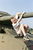 Jacob playing on a tank exhibit: Canadian Forces base Kingston.