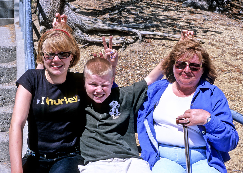 Helen and Jacob with my mother and their grandmother Evelyn in Yellowstone. My mother's red face is not a film defect. She developed a horrible rash that day.