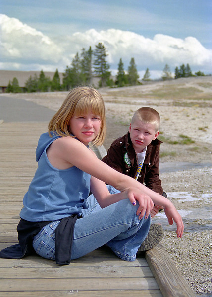 Helen and Jacob waiting for Old Faithful in Yellowstone.
