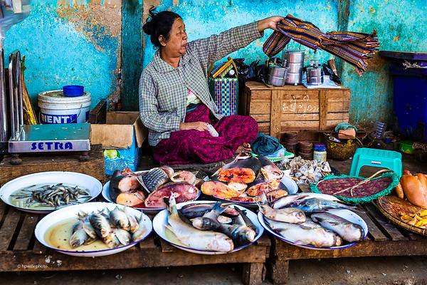 Fish Dealer Waving the Flies Away