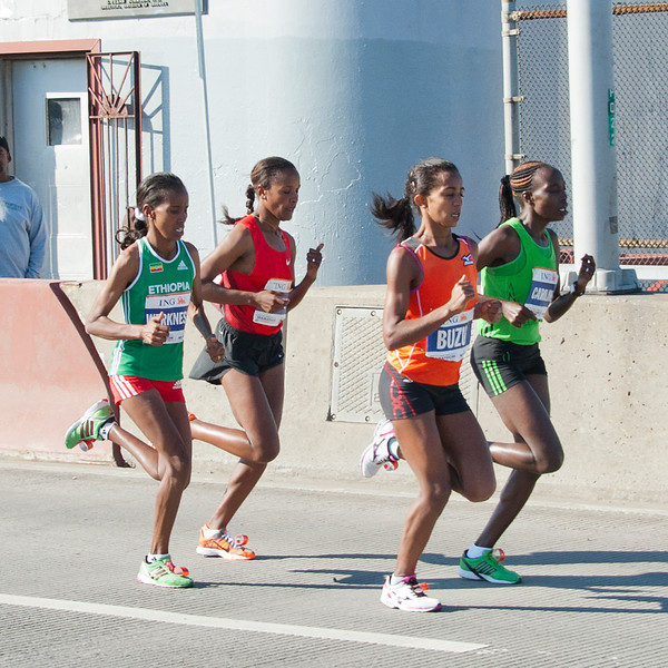 Firehiwot Dado of Ethiopia (second row, red shirt) caught Keitany in Central Park and won.