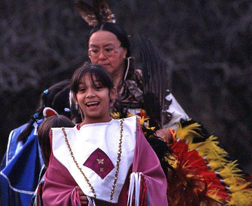 Nisqually Tribe dancers elder & young woman