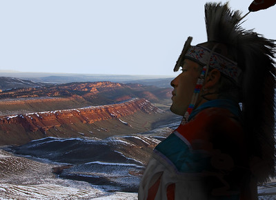an Amerind looking across a Wyoming Plateau