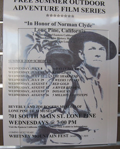 "Notice of a film series in Lone Pine ""in honor of Norman Clyde."""