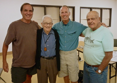 "L-R: Dennis Kruska, Glen, Bill and Phil Pister. [Provided by Dennis; he is the author of ""Twenty-Five Letters from Norman Clyde.""]"