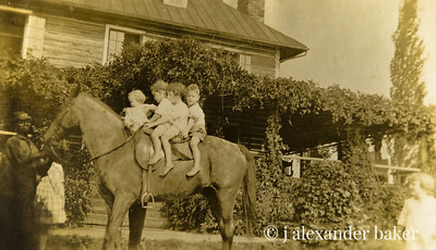 4 kids on a horse around 1920 - my mother is second from right.