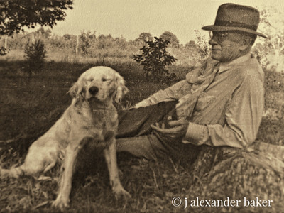 my grandfather with a favorite birddog up at the old homeplace in Person county NC