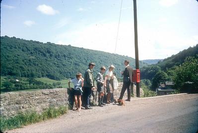 Wye Valley, 1965: Sara, Jon, Hugh, mama (with Black Dog), Araminta, Papa (with wind-up cine-camera)