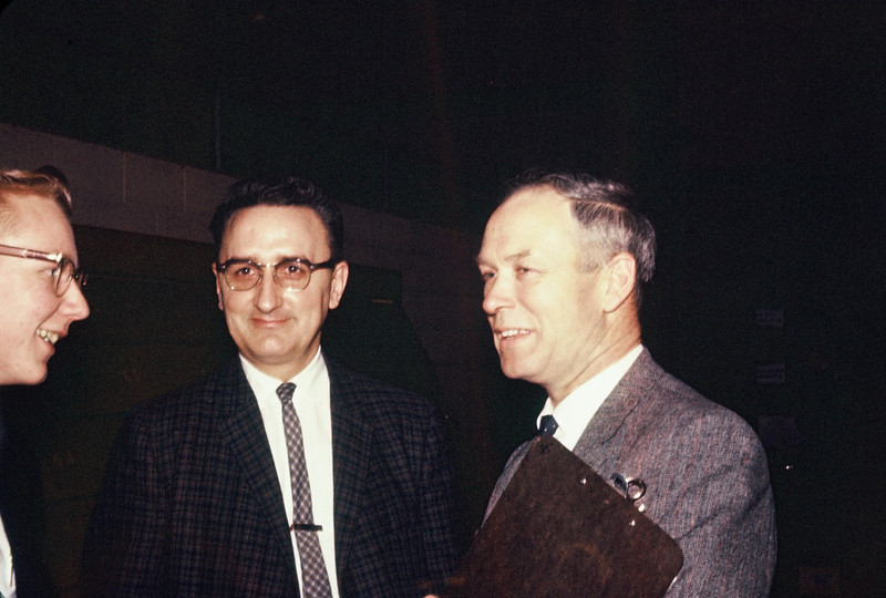 Roy Robinson (physics teacher) and Paul Ristvedt (chemistry teacher).   No clue who the guy at the left is