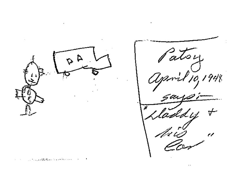 Pat's drawing of dad and his 1932 Chevy - April 10, 1948 (Pat was not quite 4 years old)