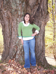 Chelsey near the big, old tree.