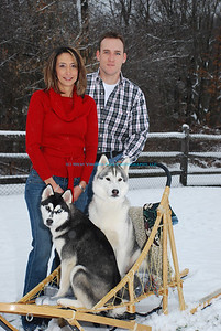 Christine and Chad with their Huskies.