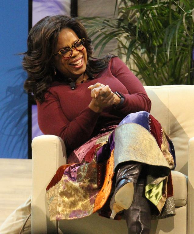 . Oprah Winfrey conversation with UML chancellor Jacquie Moloney. (SUN/Julia Malakie)