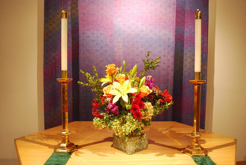 Altar flower arrangement by Coral Hamlin