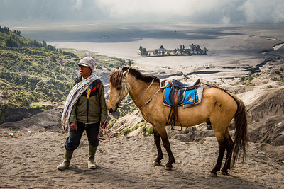 A man waits with his horse to take people up Mt Bromo to make their offering to the volcano god.