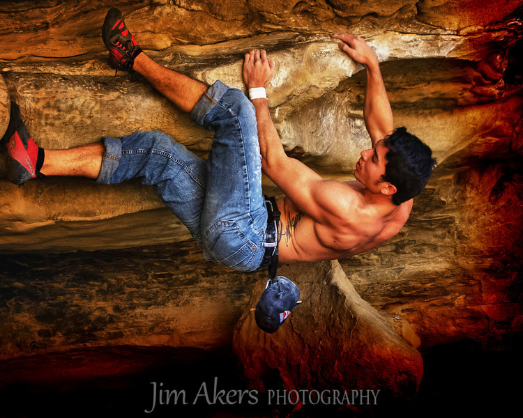 """Hanging out with Joey""  this shot was taken at Stoney Point, CA.  No ropes, no nothing just what you see. This climb is called a ""hot tuna"". This shot of Joey won 1st place in the Photo Journalism category at the Santa Clarita Vally Photography Association. May 2012"