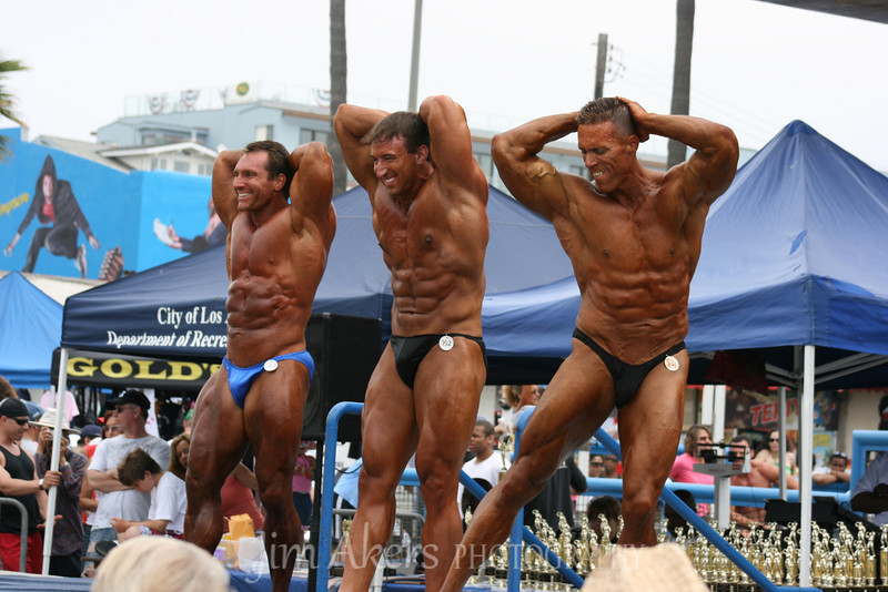 Body builders at Muscle Beach, Venice, California compete for the gold.