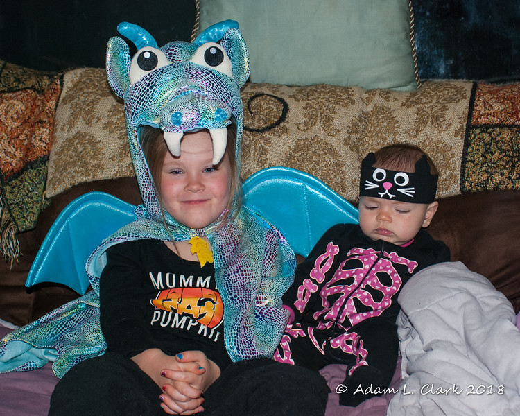 2018.10.29<br> Liliana and Madison showing off their costumes after a successful afternoon and evening of trick or treating