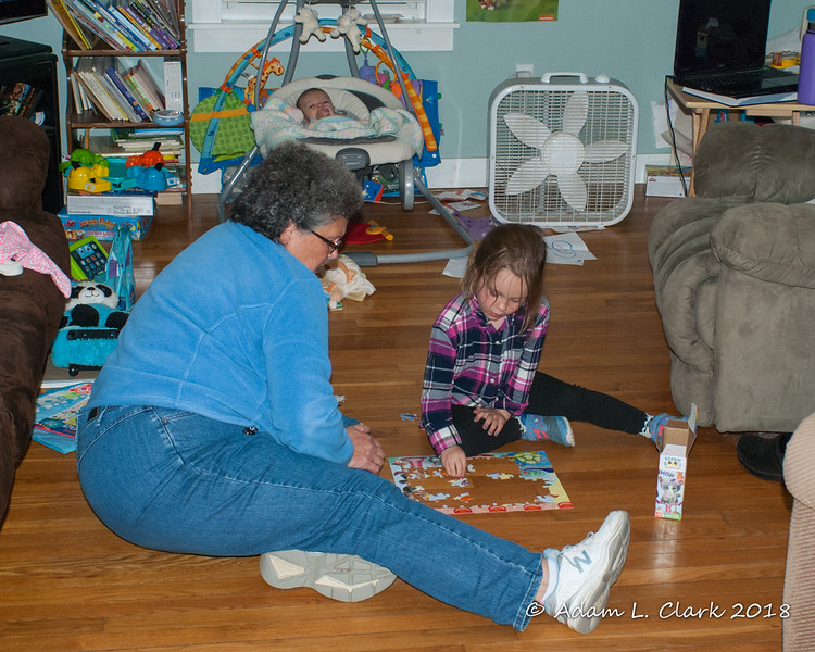2018.09.10<br> Liliana and Grammy working on a puzzle