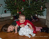 2018.12.22<br> Liliana and Madison sitting in front of the Christmas Tree