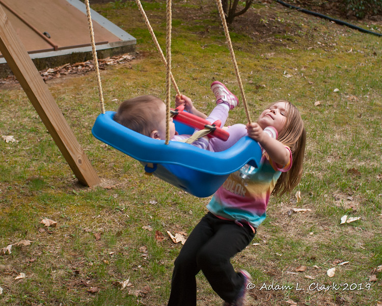 2019.05.08<br> Liliana pushing Madison in the swing