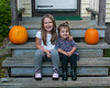 2020.10.06<br> Liliana and Madison on the steps with their pumpkins