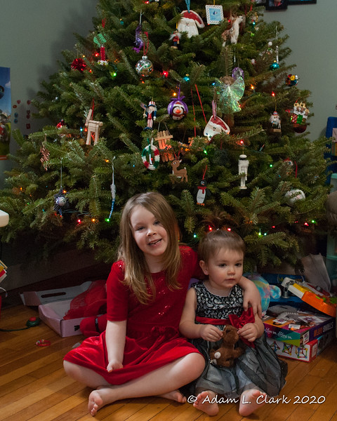 2020.01.05<br> Liliana and Madison sitting together in front of the Christmas tree before taking it down
