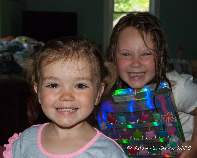 2020.07.19<br> Madison was happy to get 2 ponytails in her hair and Liliana just needed to get into the picture as well