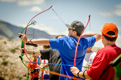 Folks practicing their archery skills at 2014's Outdoor Adventure Days. Photo by Steve Gray, Utah Division of Wildlife Resources.