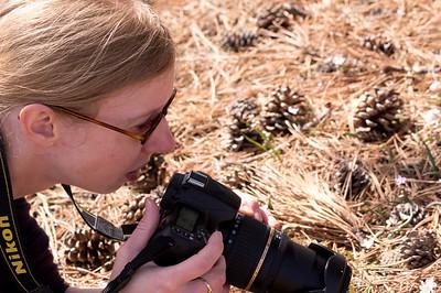 Lynn, stalking some wily flowers amongst the pine debris.