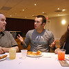 Owl Diner Charities pizza dinner at Mount Pleasant Golf Club, to present proceeds of golf tournament to family of Shane Sullivan, who has multiple sclerosis. From left, Shane Sullivan, his son Ian, 17, and daughter Audrey Sullivan, 14. (SUN/Julia Malakie)