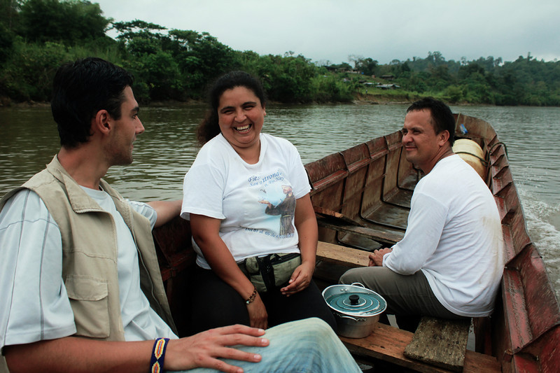 José Gascón (PBI) accompanies María Eugenia Mosquera and Enrique Chimonja from the Inter-Ecclesiastic Commission for Justice and Peace, to the Santa Rosa de Guayacán reserve in Bajo Calima in May 2011. PBI began accompanying the CIJP Valle del Cauca team in April of the same year. <br /> © PBI Colombia