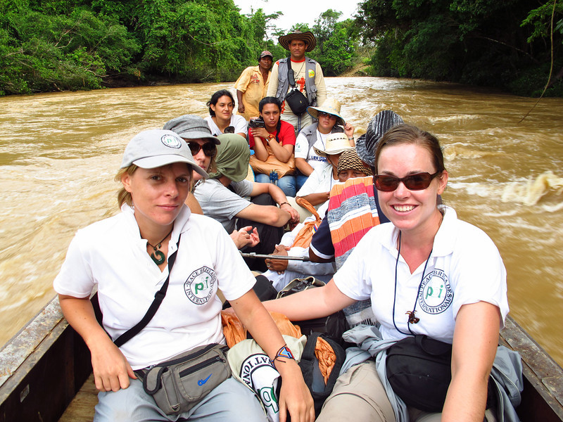 Carly Dawson and Kristin Donovan (PBI) with CCALCP´s Marcela Castellanos and Adriana Martínez, a lawyer and anthropologist respectively, during a verification mission in the Guamocó region in May 2011.<br /> © PBI Colombia