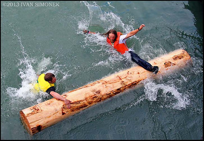 """ALASKANS AT PLAY2"",July 4th,log rolling,Wrangell,Alaska,USA."