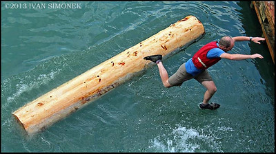 """WALKING ON WATER"",July 4th,log rolling,Wrangell,Alaska,USA."