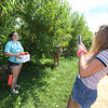 Sara Axson of Tewksbury, right, takes a photo of her friend Nicole Cobuccio, also of Tewksbury, while picking peaches at Parlee Farms in Tyngsboro. (SUN/Julia Malakie)