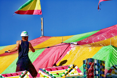 Mariposa County Fair - Setting up the Carnival - cleaning the tents