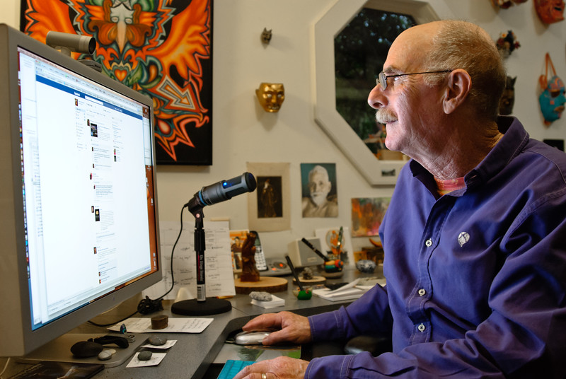 Author and social media expert Howard Rheingold at his office in Mill Valley, California, near San Francisco.