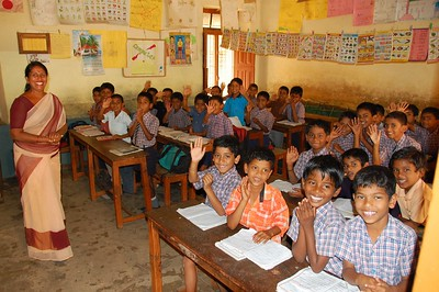 "Classroom, Karnataka, India - As I was taking this shot, all the students wished me ""Good morning, sir""."