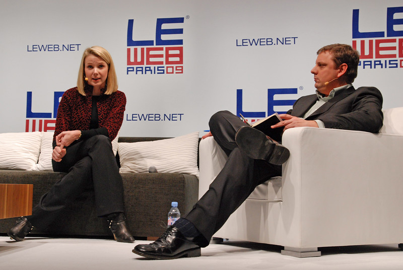 Yahoo CEO Marissa Mayer (back then with Google) onstage with TechCrunch founder Michael Arrington at the LeWeb conference 2009 in Paris.