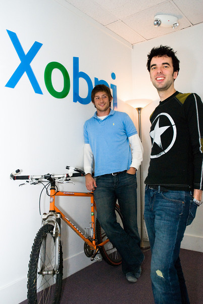 Xobni founders Adam Smith (left) and Matt Brezina at their original San Francisco office