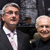 Audi CEO Rupert Stadler (left) posing with star architect Frank Gehry at the Los Angeles Auto Show.