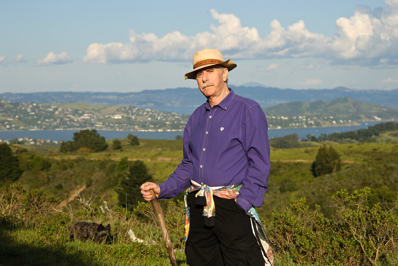 Author Howard Rheingold taking a walk over the hills of Mill Valley, California, just across the Golden Gate Bridge.