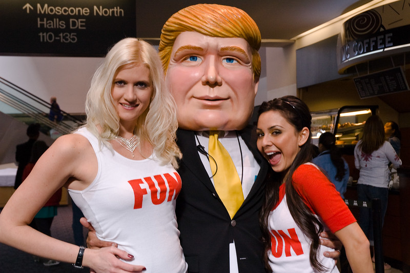 "Come see The Donald: This fake Donald Trump and two ""Fun Girls"", Terri Lawrenz (l.) and Roxie Zendejas, are busy generating interest for the real one at a real estate conference in San Francisco."
