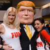 """Come see The Donald: This fake Donald Trump and two """"Fun Girls"""", Terri Lawrenz (l.) and Roxie Zendejas, are busy generating interest for the real one at a real estate conference in San Francisco."""