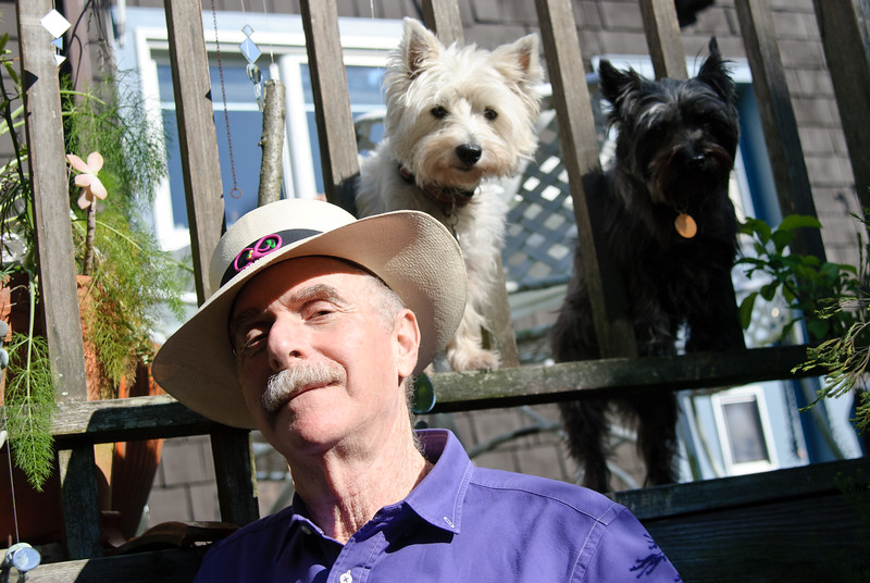 Author Howard Rheingold with his two dogs, at home in Mill Valley, California.
