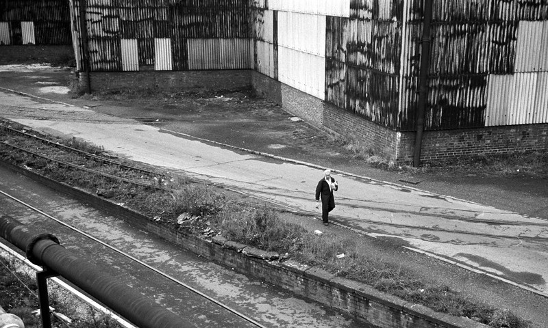 Man In Yard - BSC Sheffield Steel Works Yorkshire UK 1970's