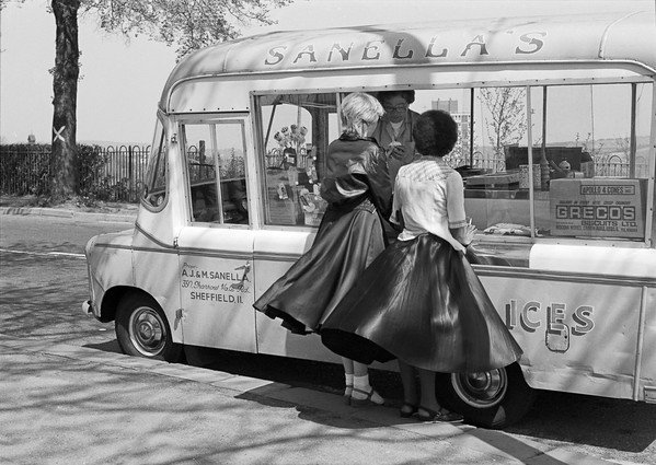 Two Women at Ice Cream Van - Crookes Valley Park Shefield Yorkshire UK 1970's