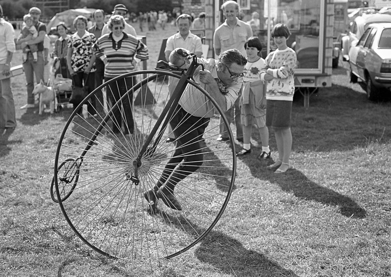 Man with Penny Farthing Bike - Eckington Fair Derbyshire UK 1980's